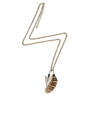 Image 2 ofASOS Spearhead and Feather Necklace