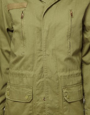 Image 3 ofASOS Khaki Army Jacket With Detachable Fur Trim