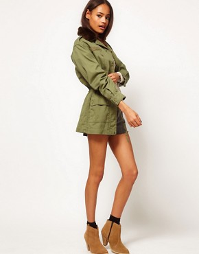 Image 4 ofASOS Khaki Army Jacket With Detachable Fur Trim