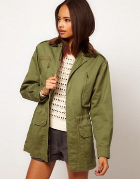 Image 1 ofASOS Khaki Army Jacket With Detachable Fur Trim