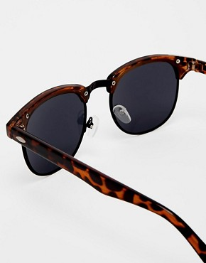 Image 4 ofASOS Clubmaster Sunglasses With Black Lens