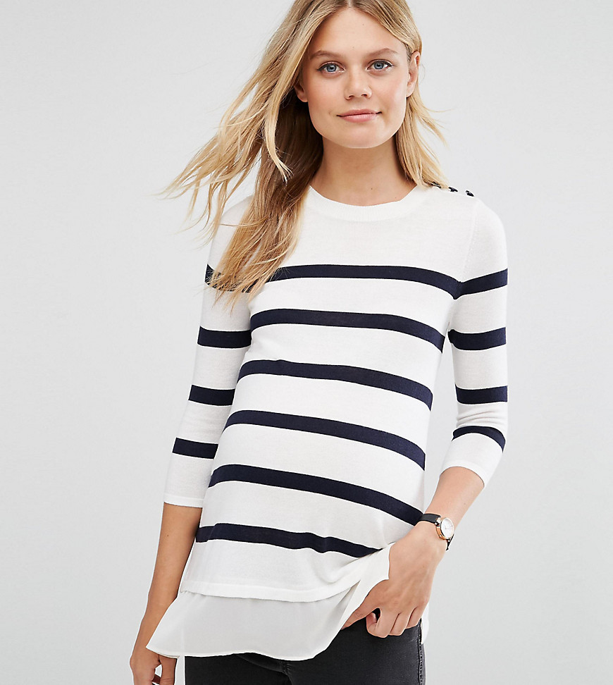 ASOS Maternity Breton Stripe Sweater with Button - Multi