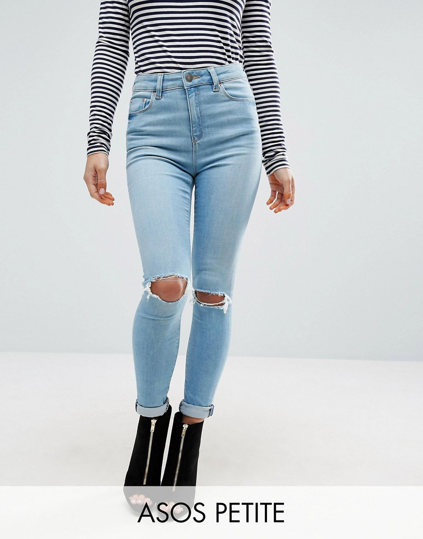 ASOS PETITE Ridley Full Length Jeans in Felix Wash - Blue