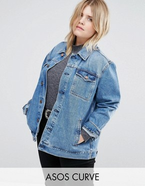 ASOS CURVE Denim Girlfriend Jacket in Astrid Mid Stonewash Blue