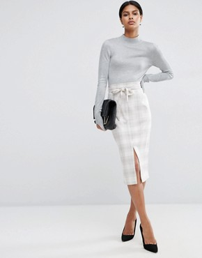 ASOS Tailored Pencil Skirt in Graphic Check