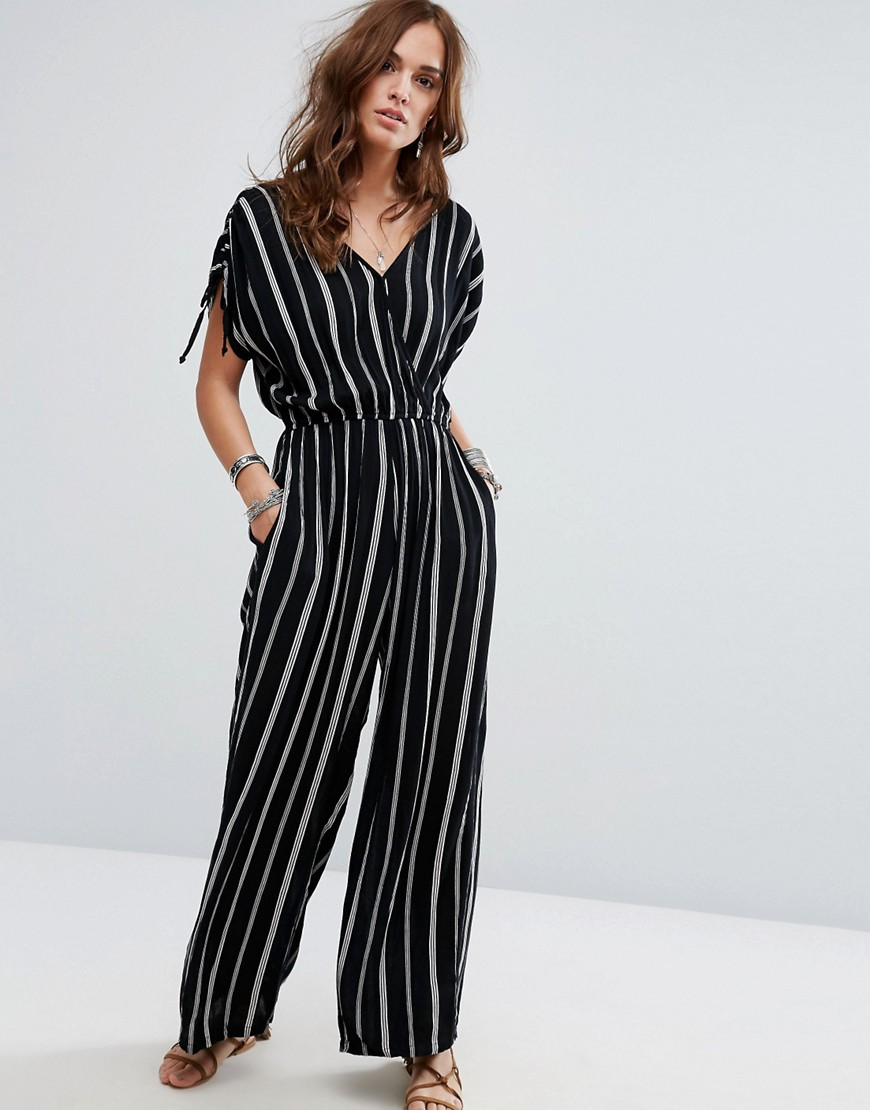 Band Of Gypsies Festival Pinstripe Jumpsuit - Black
