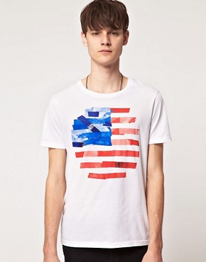 Image 1 of ASOS T-Shirt With Flag Print