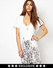 Religion Cradinal Cross Print T-Shirt Dress Exclusive To ASOS