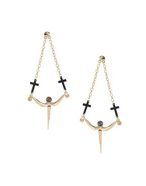 Image 1 ofASOS Cross and Arrow Drop Earrings