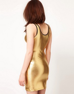 Image 2 ofAmerican Apparel Shiny Tank Pencil Dress