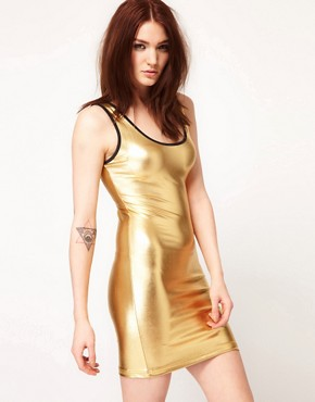 Image 1 ofAmerican Apparel Shiny Tank Pencil Dress