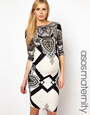 ASOS Maternity  Knielanges Kleid mit geometrischem Muster