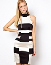 Karen Millen Dress in Colour Block Monochrome