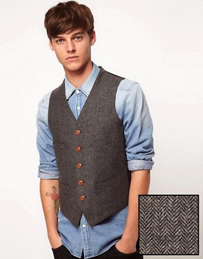 ASOS Slim Fit Suit Waistcoat in Herringbone