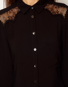 Image 3 ofWarehouse Lace Cowl Back Shirt