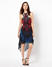 Warehouse Printed Dress With Fringed Neckline