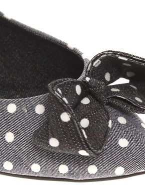Image 2 ofASOS LOCO Spot Bow Ballet Shoes