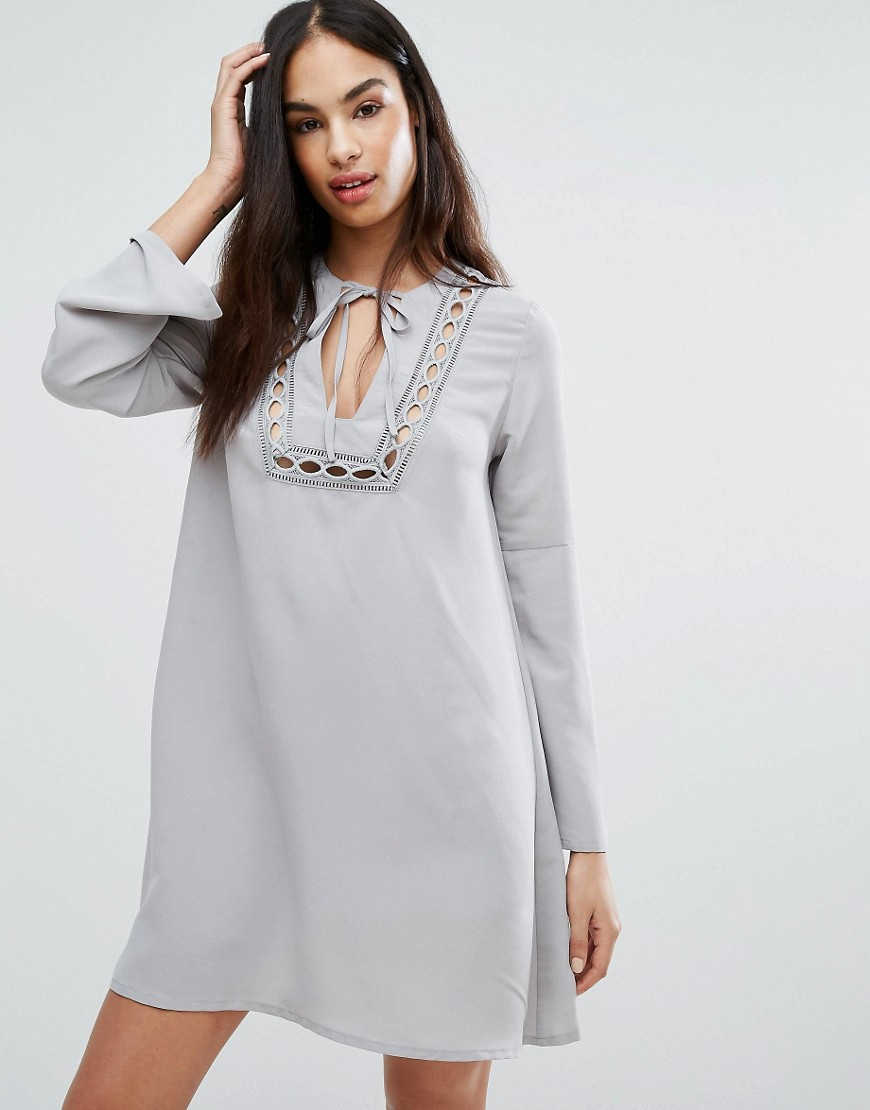 Missguided Lace Insert Smock Dress - Gray
