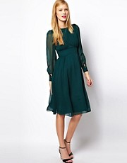 ASOS Midi Dress With Gathered Front