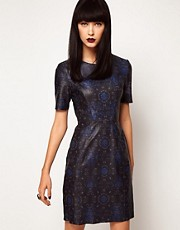 ASOS BLACK By Markus Lupfer Leather Body-Conscious Dress In Print