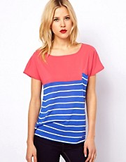 Mango Colourblock Stripe Woven Tee