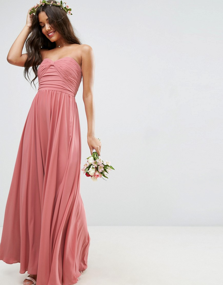 ASOS WEDDING Bow Front Bandeau Maxi Dress - Nude