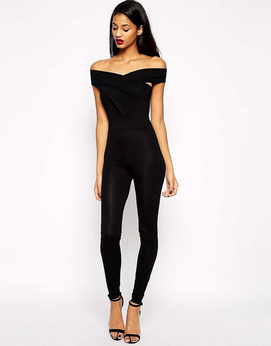 Unique Jumpsuit Petite Boat Necked Sleeveless Black Jumpsuit Contrasted With