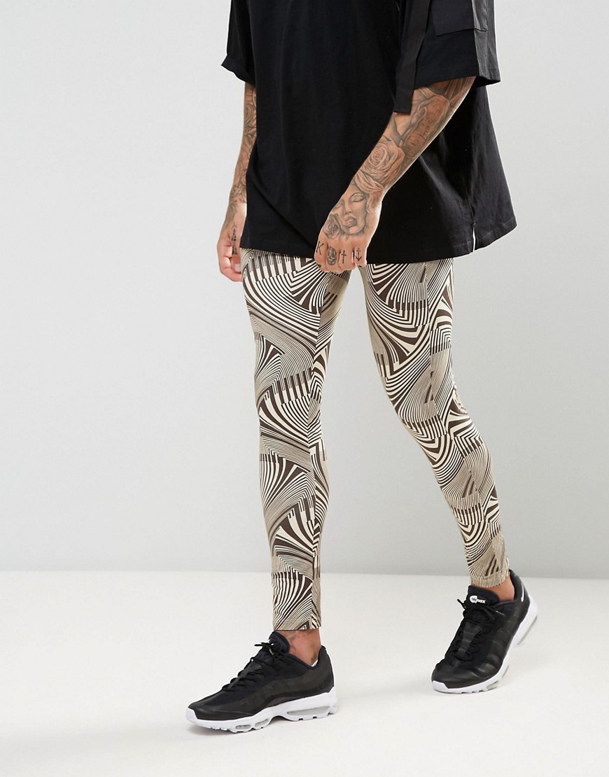 ASOS FESTIVAL Meggings In Geo Print - Black