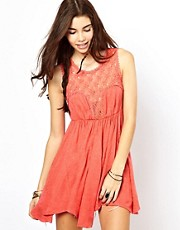 Free People Skater Dress with Crochet Detail