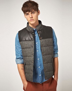 Image 1 ofASOS Wool And Leather Look Gilet