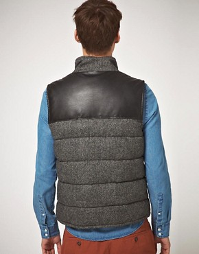 Image 2 ofASOS Wool And Leather Look Gilet