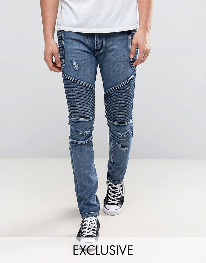 Liquor N Poker Skinny Distressed Biker Jeans in Brush Wash Blue - Brush wash