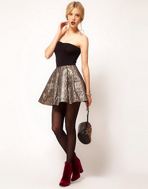 Image 1 ofASOS Gold Skater Skirt in Jacquard