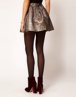 Image 2 ofASOS Gold Skater Skirt in Jacquard