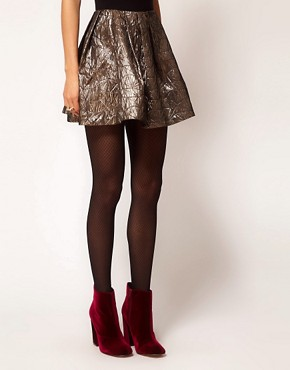Image 4 ofASOS Gold Skater Skirt in Jacquard