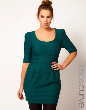 Image 1 ofASOS CURVE Exclusive Textured Pencil Dress