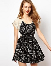 Viva Vena Marfa Dress with Lace and Polka Dot Panels