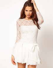 TFNC Dress Lace and Puffball Bow Skirt