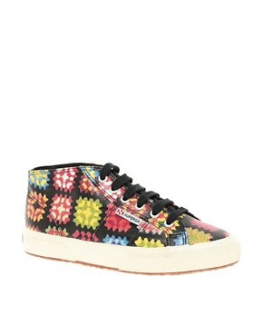 Image 1 ofSuperga House of Holland Collaboration Crochet High Top Plimsolls