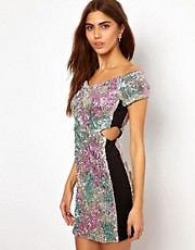 Lashes Of London Off Shoulder Dress In Rainbow Crushed Sequins