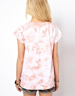 Image 2 of ASOS T-Shirt with Washed Tie Die and Cross My Heart Print