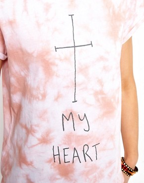 Image 3 ofASOS T-Shirt with Washed Tie Die and Cross My Heart Print