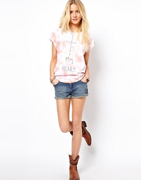 Image 4 of ASOS T-Shirt with Washed Tie Die and Cross My Heart Print