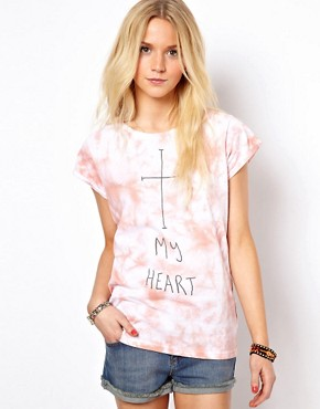 Image 1 of ASOS T-Shirt with Washed Tie Die and Cross My Heart Print