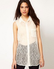 Equipment Signature Sleeveless Lace Blouse