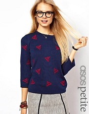 ASOS PETITE Jumper With Embroidered Sail Boats