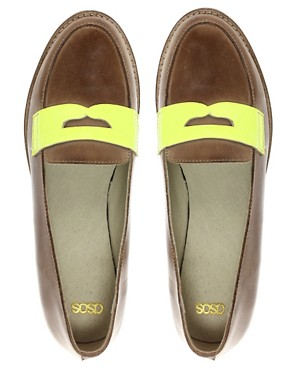 Image 3 ofASOS MECCA Leather Loafer With Neon Flash