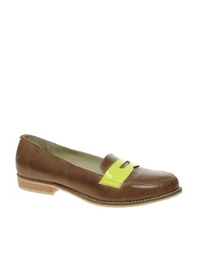 Image 1 ofASOS MECCA Leather Loafer With Neon Flash