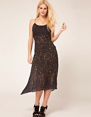 ASOS Midi Dress In Smudged Spot Print