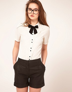 Image 1 ofASOS Blouse With Broderie Anglaise And Bow